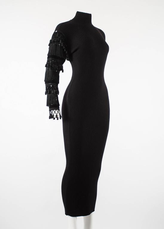 Black Jean Paul Gaultier Autumn-Winter 1985 black rib knit evening dress  For Sale