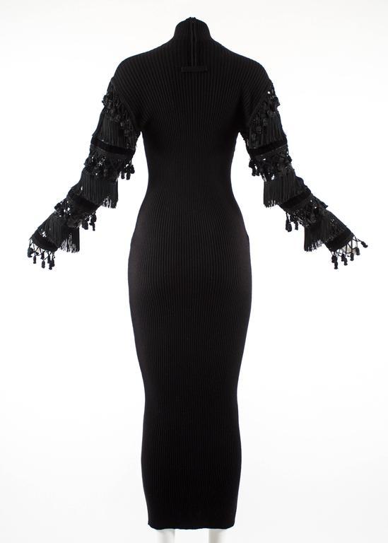 Jean Paul Gaultier Autumn-Winter 1985 black rib knit evening dress  For Sale 2