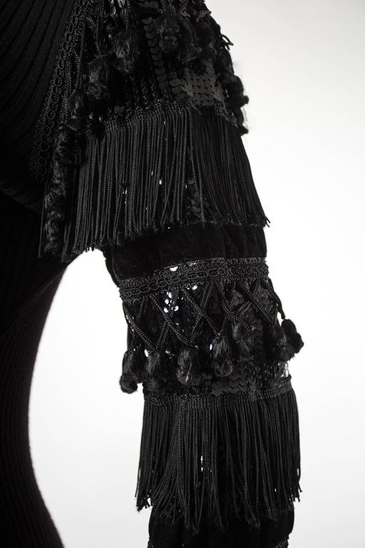 Jean Paul Gaultier Autumn-Winter 1985 black rib knit evening dress  In Good Condition For Sale In London, GB