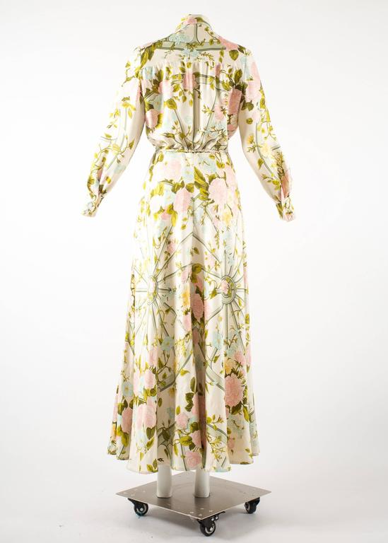 Hermes 1970s 'Romantique' couture silk floral maxi dress  4