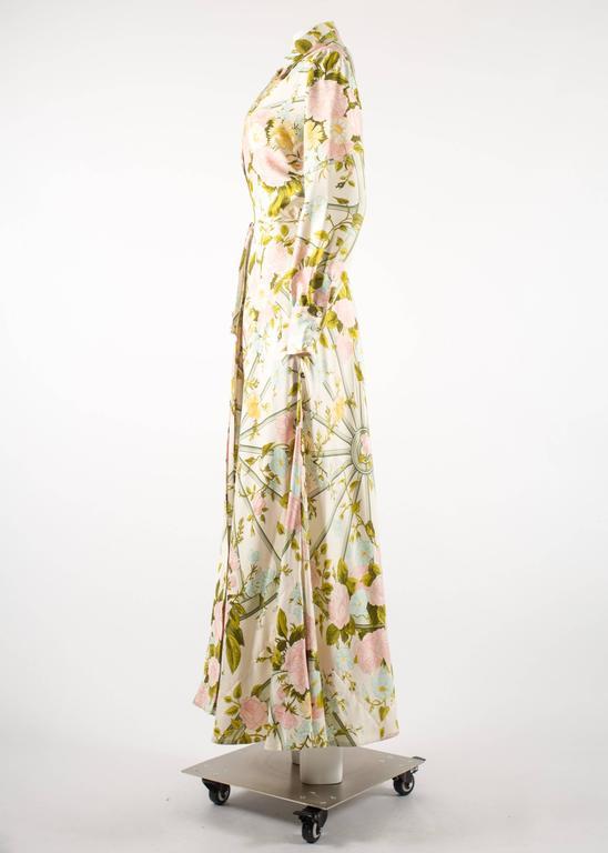 Hermes 1970s 'Romantique' couture silk floral maxi dress  5