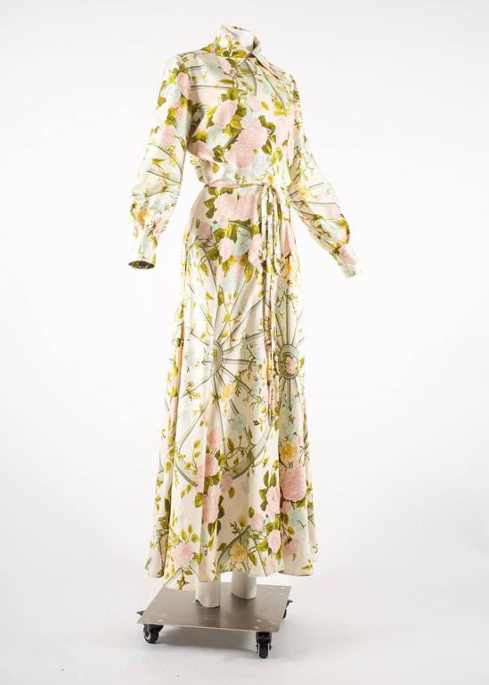 Hermes 1970s 'Romantique' couture silk floral maxi dress  3