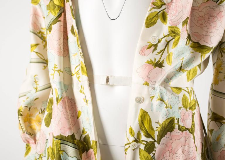 Hermes 1970s 'Romantique' couture silk floral maxi dress  6