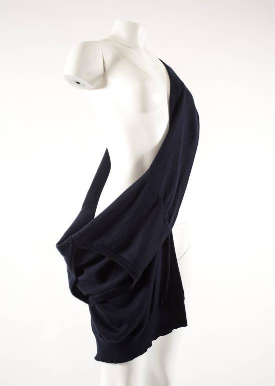 Black Maison Martin Margiela Spring-Summer 1995 navy blue knitted sweater sack bag  For Sale