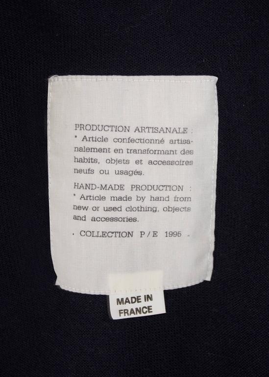 Maison Martin Margiela Spring-Summer 1995 navy blue knitted sweater sack bag  For Sale 2