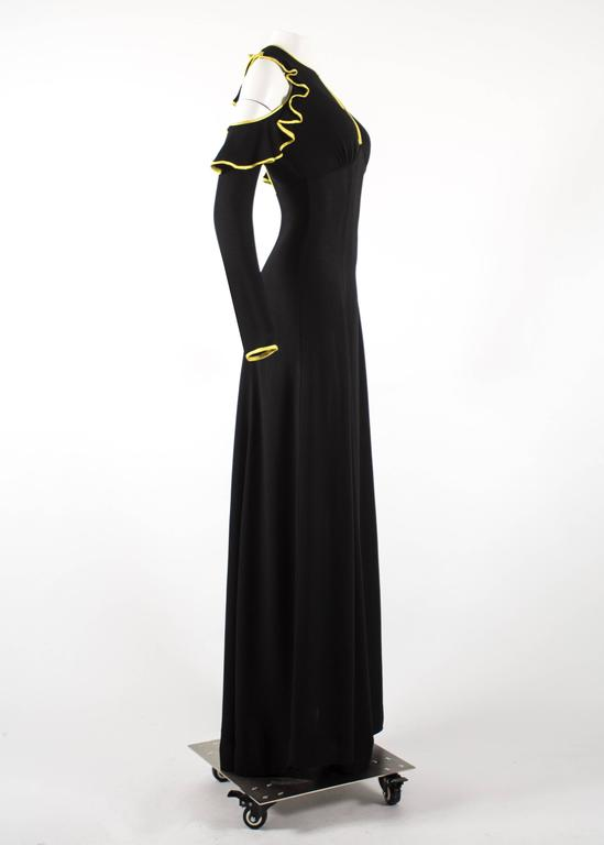 Ossie Clark 1968 black moss crepe evening dress with yellow satin trim 5