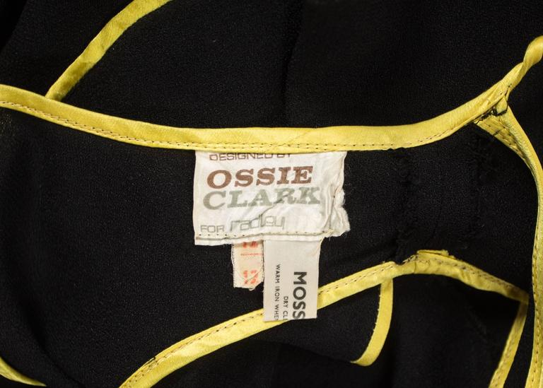 Ossie Clark 1968 black moss crepe evening dress with yellow satin trim 8