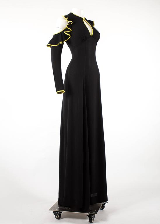 Ossie Clark 1968 black moss crepe evening dress with yellow satin trim 3