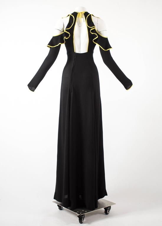 Ossie Clark 1968 black moss crepe evening dress with yellow satin trim 6