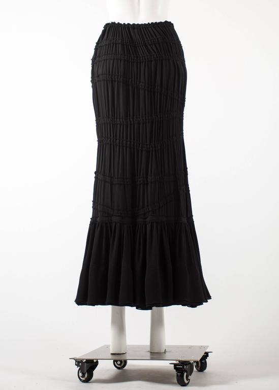 Tom Ford for Yves Saint Laurent Autumn-Winter 2001 black pleated maxi skirt For Sale 1