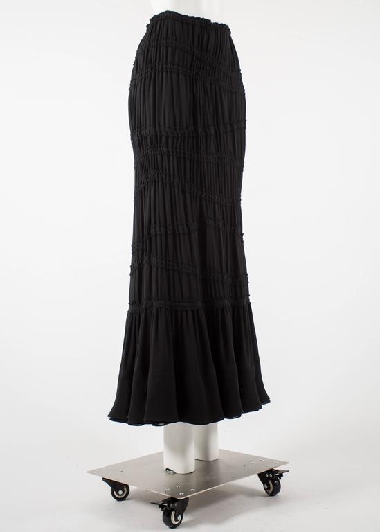 Black Tom Ford for Yves Saint Laurent Autumn-Winter 2001 black pleated maxi skirt For Sale