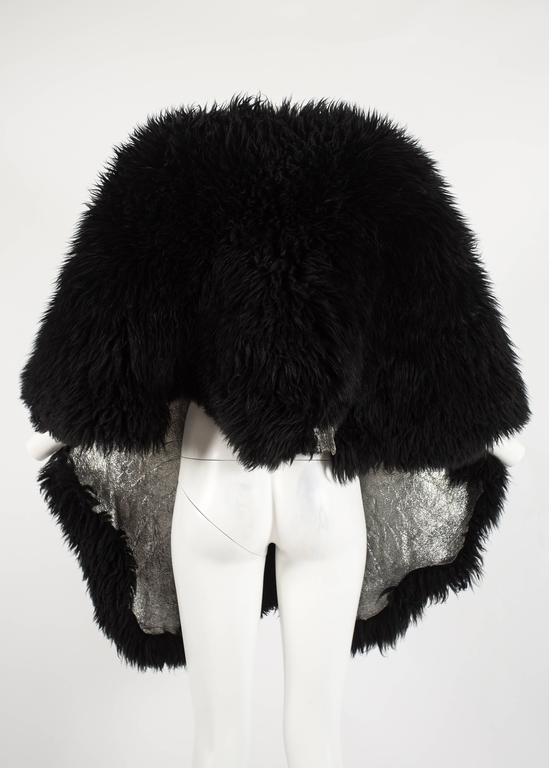 Vivienne Westwood Autumn-Winter 1992 oversized black sheepskin shawl 5