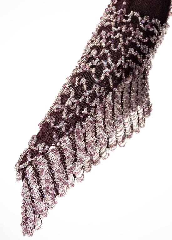 Julien Macdonald Autumn-Winter 2004 purple beaded knitted mini dress 8