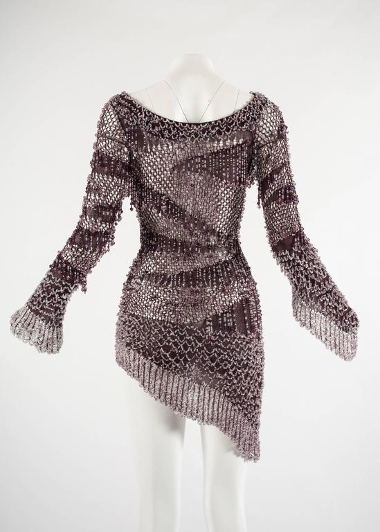 Julien Macdonald Autumn-Winter 2004 purple beaded knitted mini dress 6