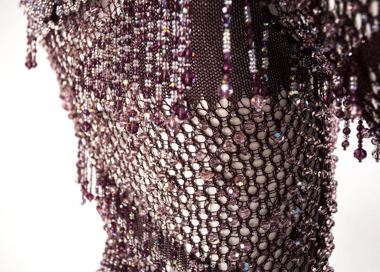 Julien Macdonald Autumn-Winter 2004 purple beaded knitted mini dress 7