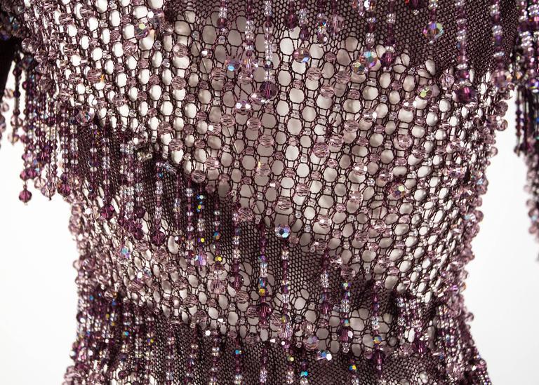 Julien Macdonald Autumn-Winter 2004 purple beaded knitted mini dress 9