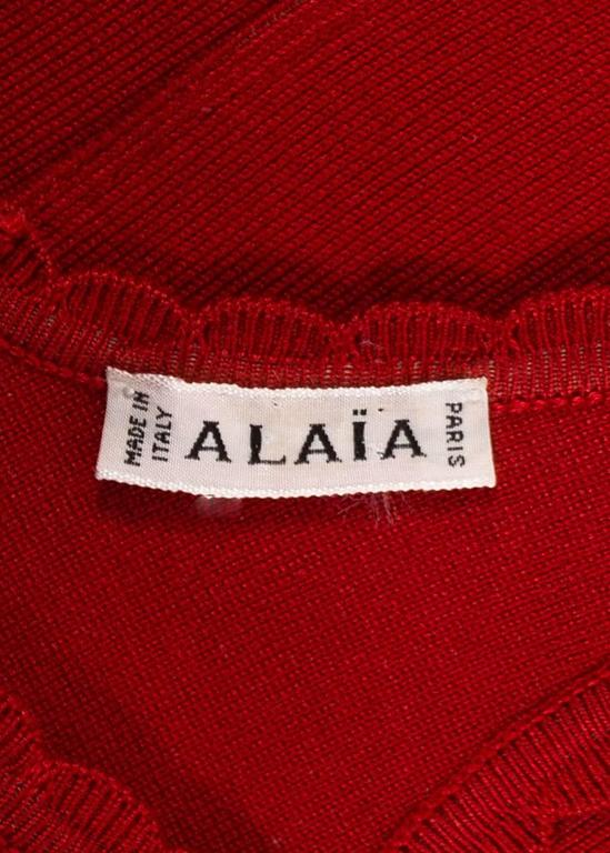 Alaia Spring-Summer 1992 red spandex knit bodysuit  For Sale 3
