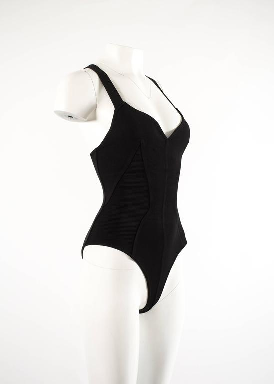 Alaia Spring-Summer 1990 black spandex knit bodysuit In Good Condition For Sale In London, GB