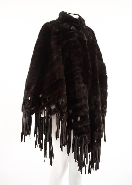 Black Christian Dior 1970s brown mink poncho with lambskin leather tassels  For Sale