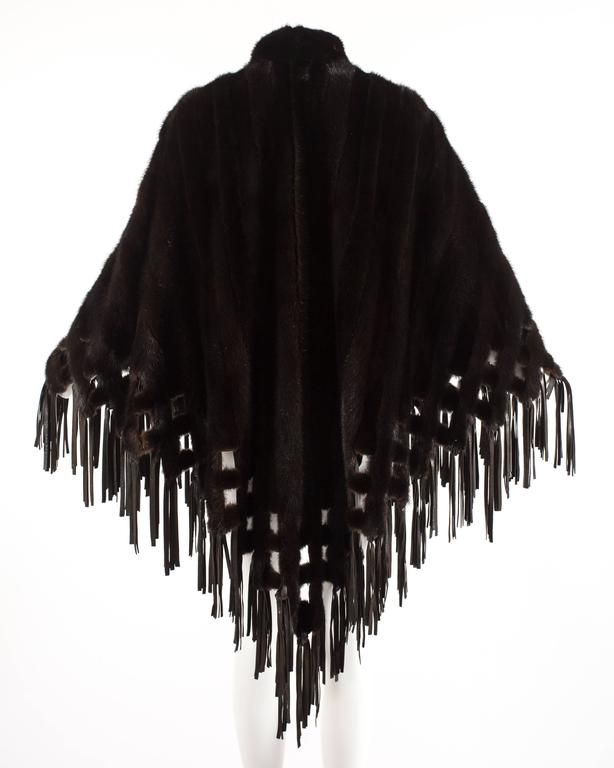 Christian Dior 1970s brown mink poncho with lambskin leather tassels  For Sale 2