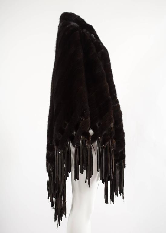 Christian Dior 1970s brown mink poncho with lambskin leather tassels  For Sale 1