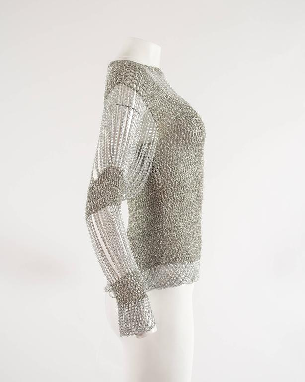 Loris Azzaro 1970 silver chain and lurex knit evening sweater 5