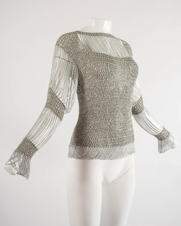 Loris Azzaro 1970 silver chain and lurex knit evening sweater 3