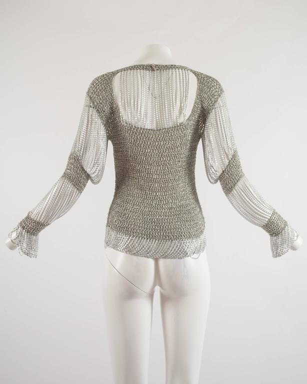 Loris Azzaro 1970 silver chain and lurex knit evening sweater 6