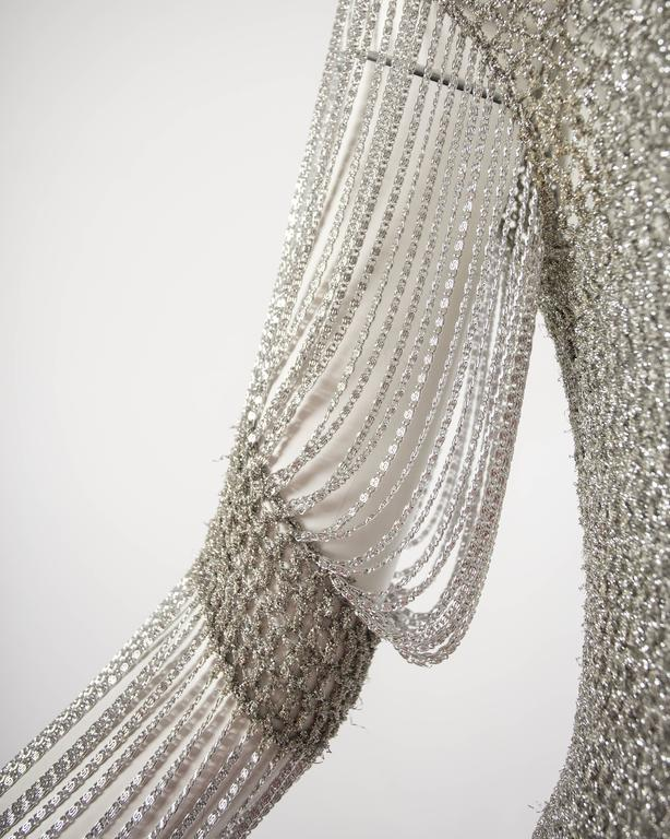 Loris Azzaro 1970 silver chain and lurex knit evening sweater 4