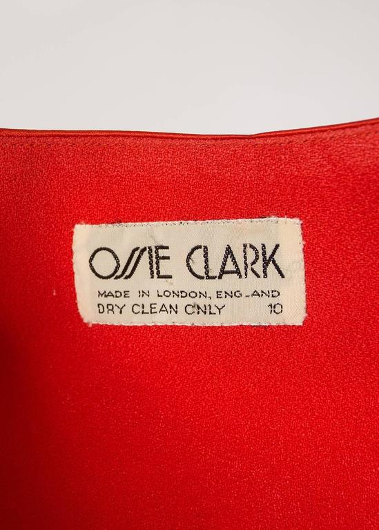 Ossie Clark 1970s red moss crepe and satin pant suit 6