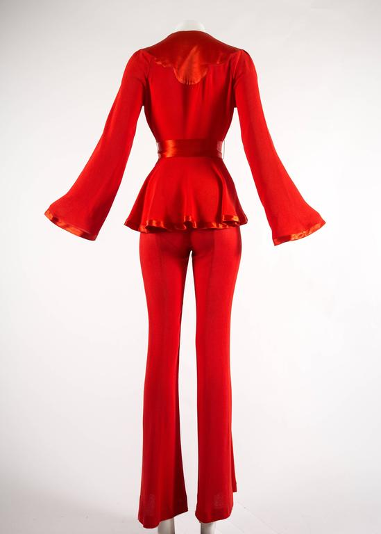 Ossie Clark 1970s red moss crepe and satin pant suit 4