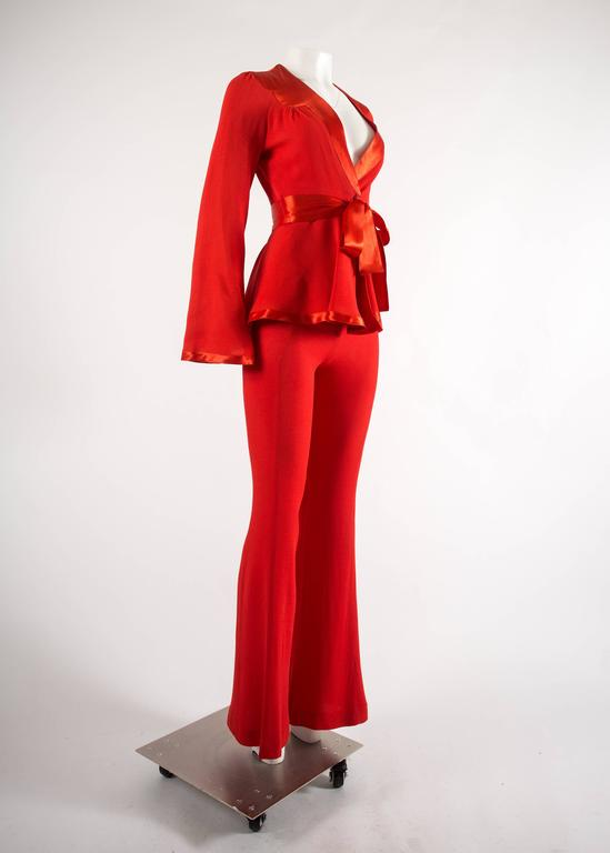 Ossie Clark 1970s red moss crepe and satin pant suit 3
