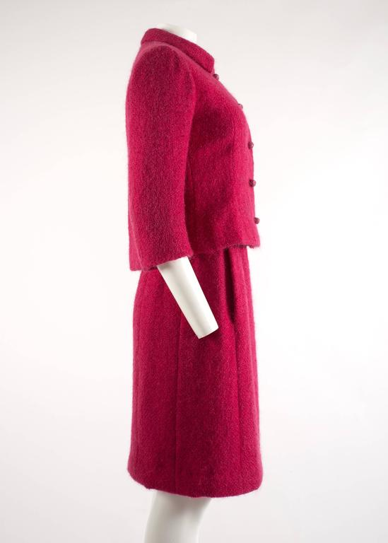 Balenciaga 1961 Haute Couture Cerise wool skirt suit  6