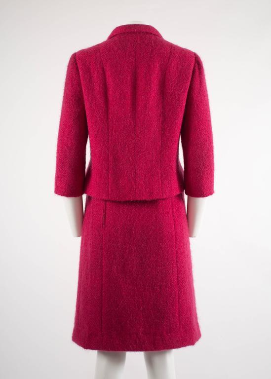 Balenciaga 1961 Haute Couture Cerise wool skirt suit  8