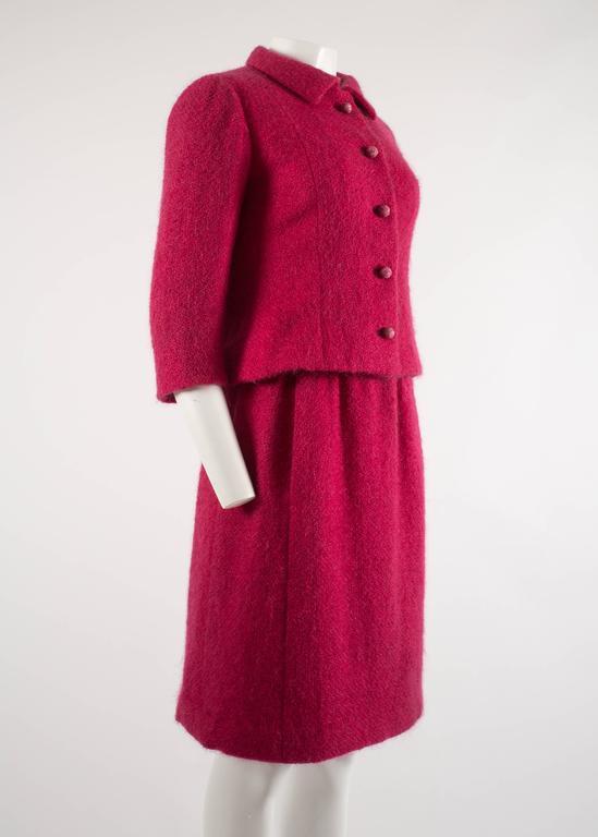 Balenciaga 1961 Haute Couture Cerise wool skirt suit  5