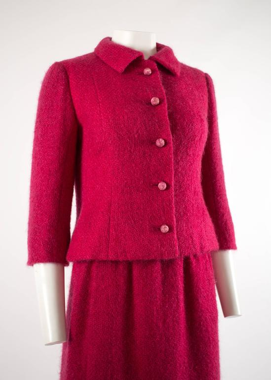 Balenciaga 1961 Haute Couture Cerise wool skirt suit  3