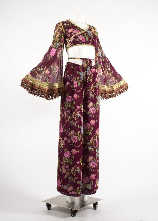 Dolce & Gabbana Spring-Summer 1994 silk chiffon gypsy pant suit  In Excellent Condition For Sale In London, GB
