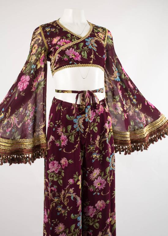 Black Dolce & Gabbana Spring-Summer 1994 silk chiffon gypsy pant suit  For Sale