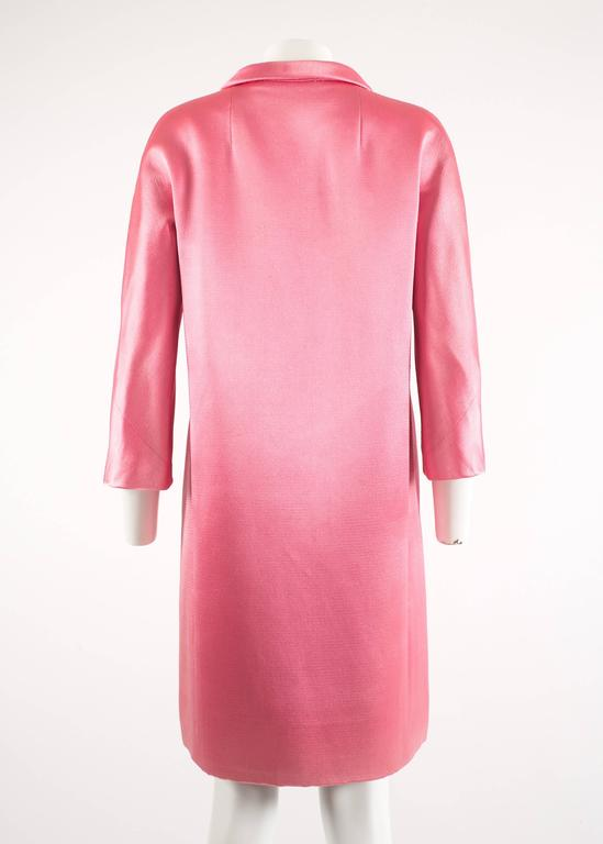 Balenciaga 1963 Haute Couture hot pink silk evening coat 8