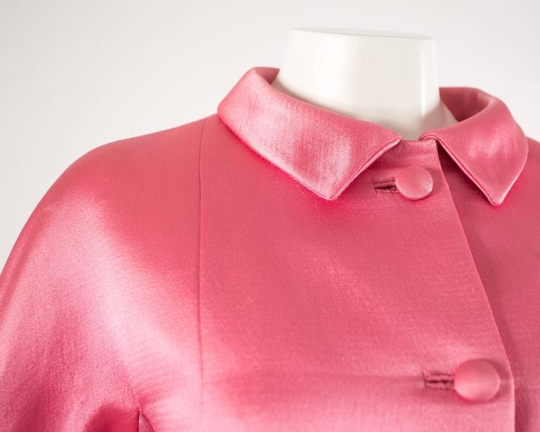 Balenciaga 1963 Haute Couture hot pink silk evening coat 5
