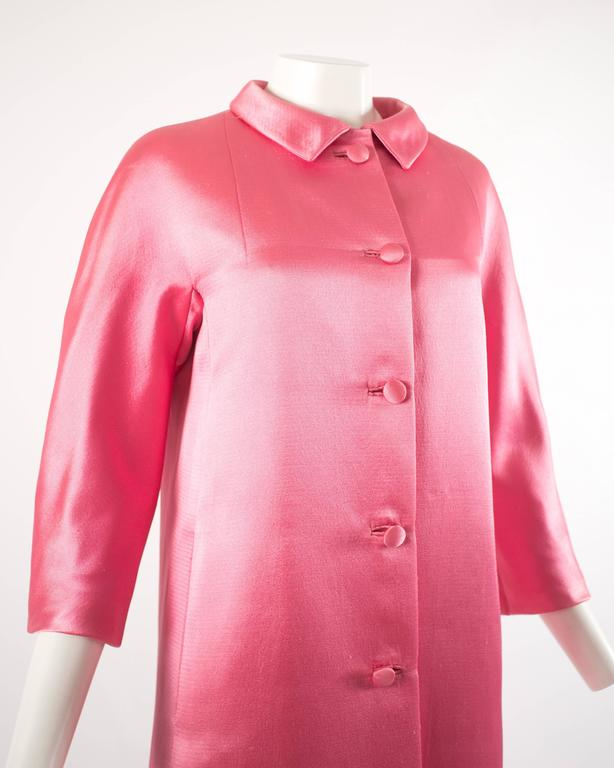 Balenciaga 1963 Haute Couture hot pink silk evening coat 3