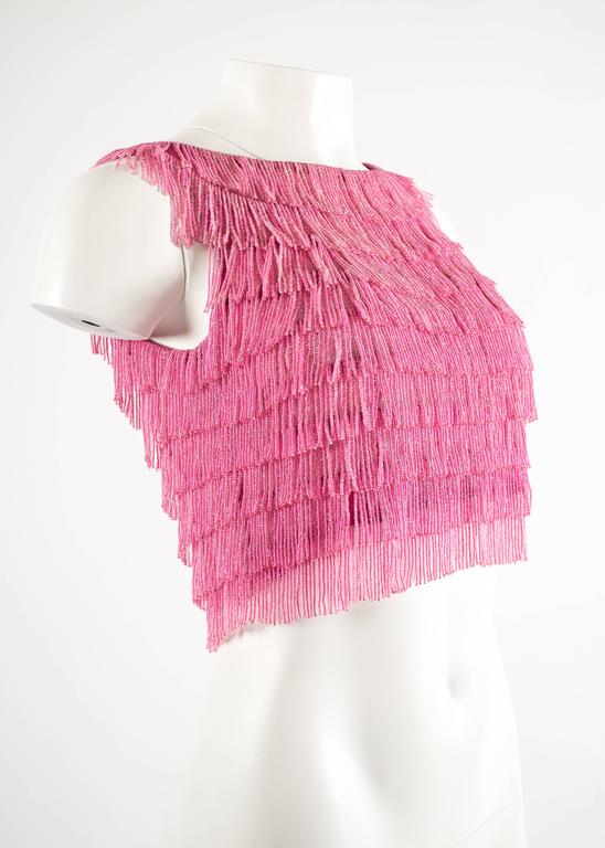 1960 hot pink beaded fringed cropped evening vest 3