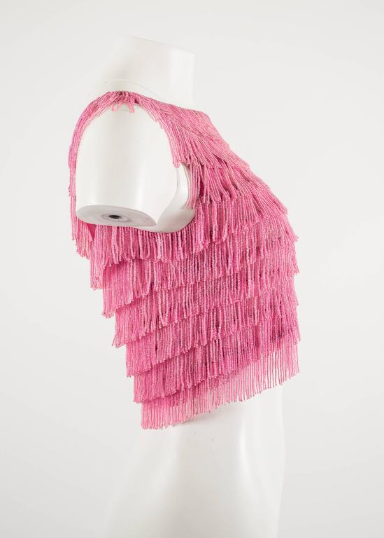 1960 hot pink beaded fringed cropped evening vest 4