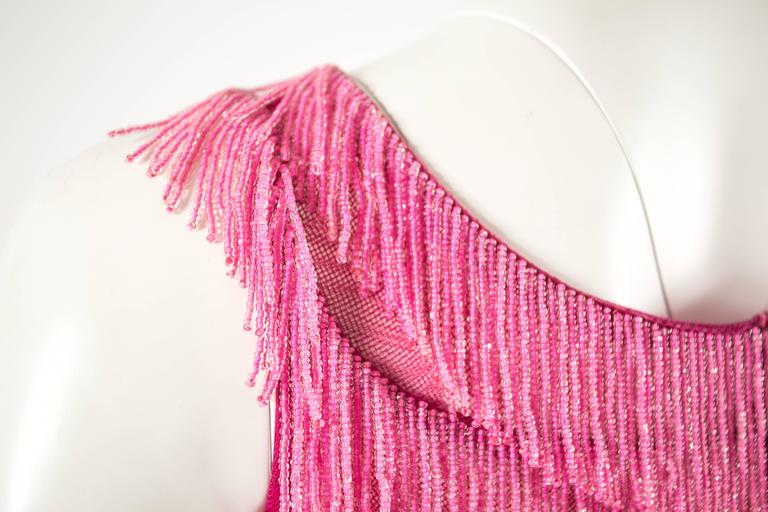 1960 hot pink beaded fringed cropped evening vest 6