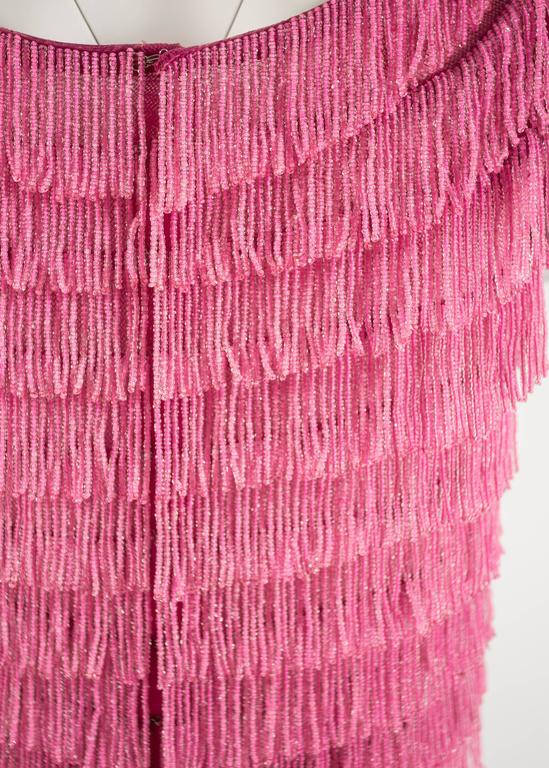 1960 hot pink beaded fringed cropped evening vest 7