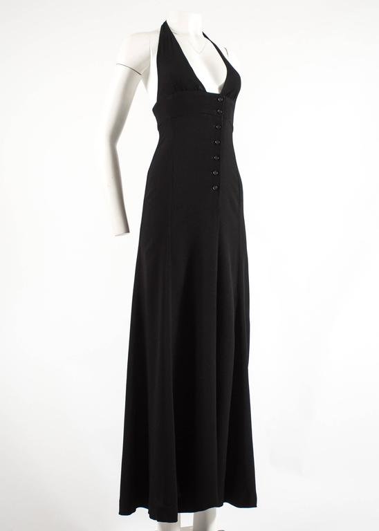 Ossie Clark 1970 black moss crepe halter neck evening dress In Good Condition For Sale In London, GB