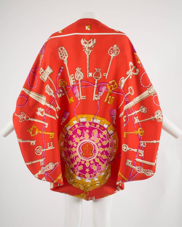 Red Hermes red Giant Silk Scarf with 'Les Cles' print For Sale