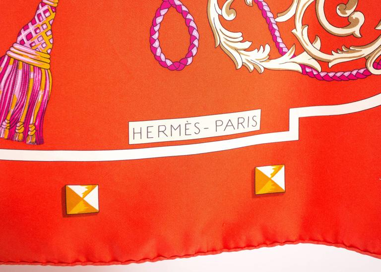 Hermes red Giant Silk Scarf with 'Les Cles' print For Sale 1