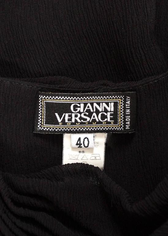 Gianni Versace 1990s black crinkled silk halter neck evening gown 7