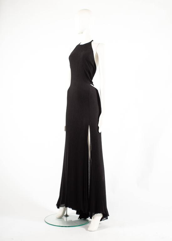 Gianni Versace 1990s black crinkled silk halter neck evening gown 5